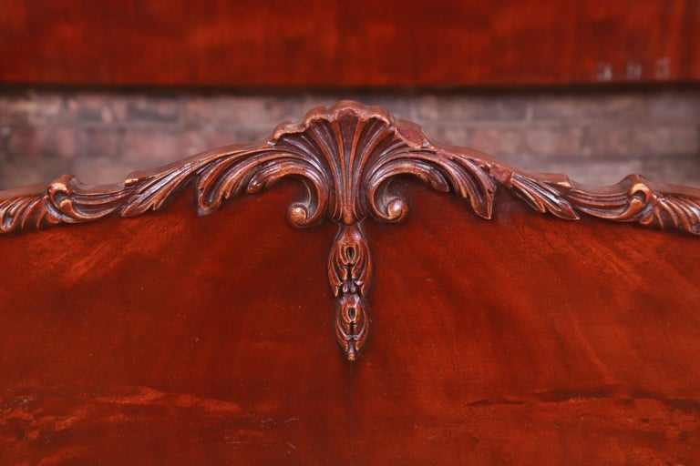 Romweber French Provincial Louis XV Burled Mahogany Full Size Bed, Circa 1920s 6