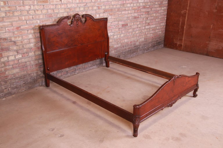 Early 20th Century Romweber French Provincial Louis XV Burled Mahogany Full Size Bed, Circa 1920s