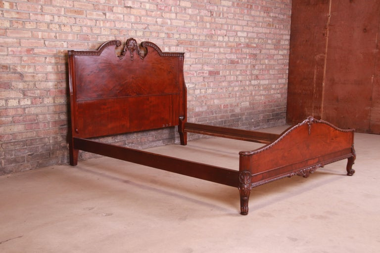 Romweber French Provincial Louis XV Burled Mahogany Full Size Bed, Circa 1920s 1