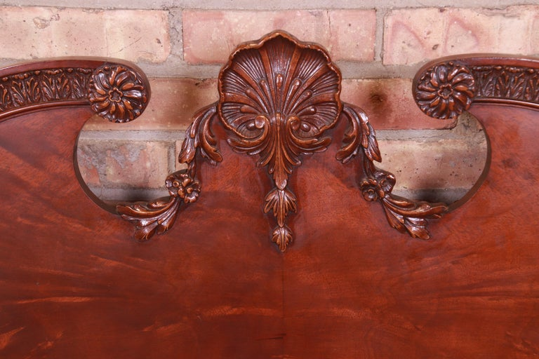 Romweber French Provincial Louis XV Burled Mahogany Full Size Bed, Circa 1920s 4