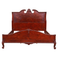 Romweber French Provincial Louis XV Burled Mahogany Full Size Bed, Circa 1920s