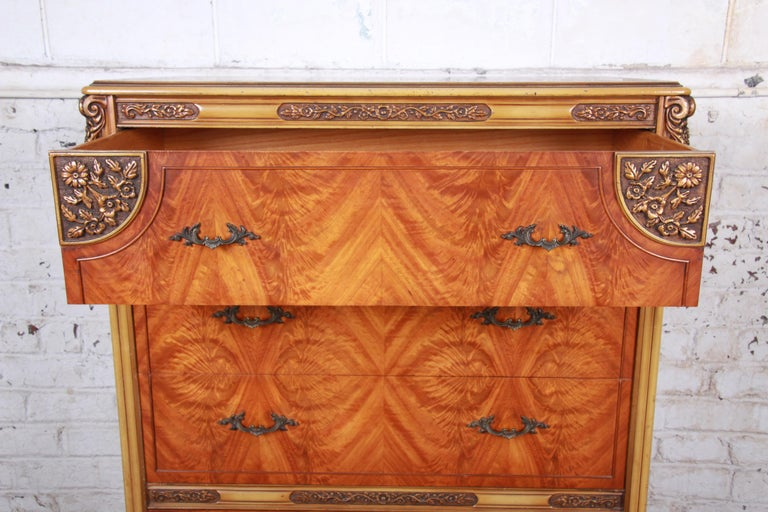 Romweber French Provincial Louis XV Burled Mahogany Highboy Dresser For Sale 5
