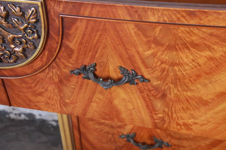 Romweber French Provincial Louis XV Burled Mahogany Highboy Dresser For Sale 6
