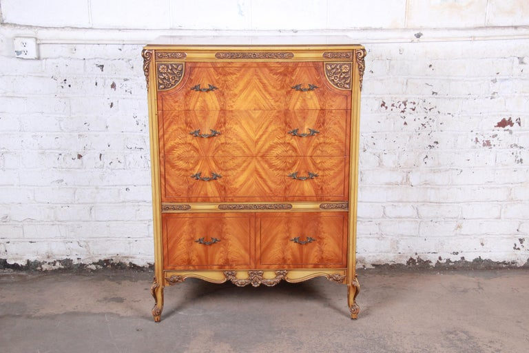 American Romweber French Provincial Louis XV Burled Mahogany Highboy Dresser For Sale