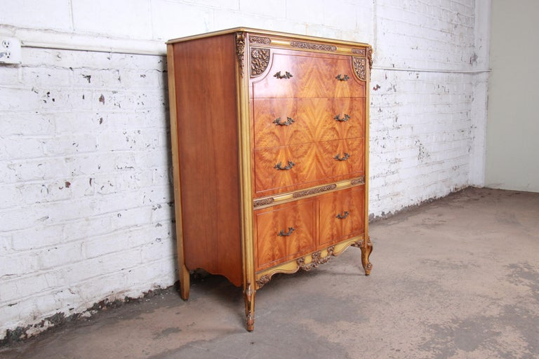 20th Century Romweber French Provincial Louis XV Burled Mahogany Highboy Dresser For Sale