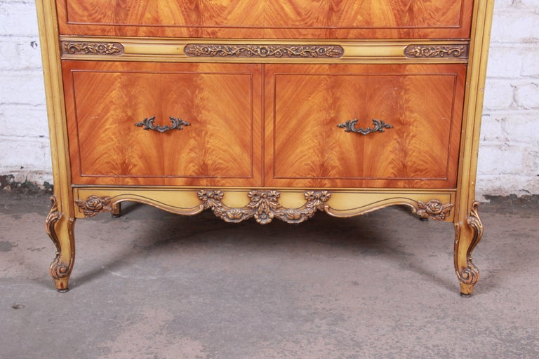 Romweber French Provincial Louis XV Burled Mahogany Highboy Dresser For Sale 1