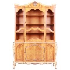 Romweber French Rococo Burl Wood Dining Cabinet or Bookcase, Circa 1930s