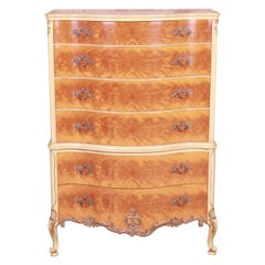 Romweber French Rococo Louis XV Burl Wood Highboy Dresser, Circa 1930s