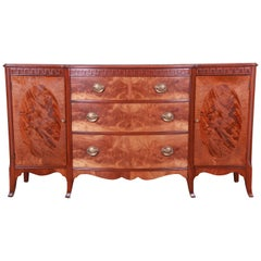 Romweber Mahogany and Burl Sideboard Credenza or Bar Cabinet, Newly Refinished