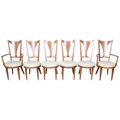 Romweber Mid-Century Modern Cherry and Burl Wood Dining Chairs, Set of Six