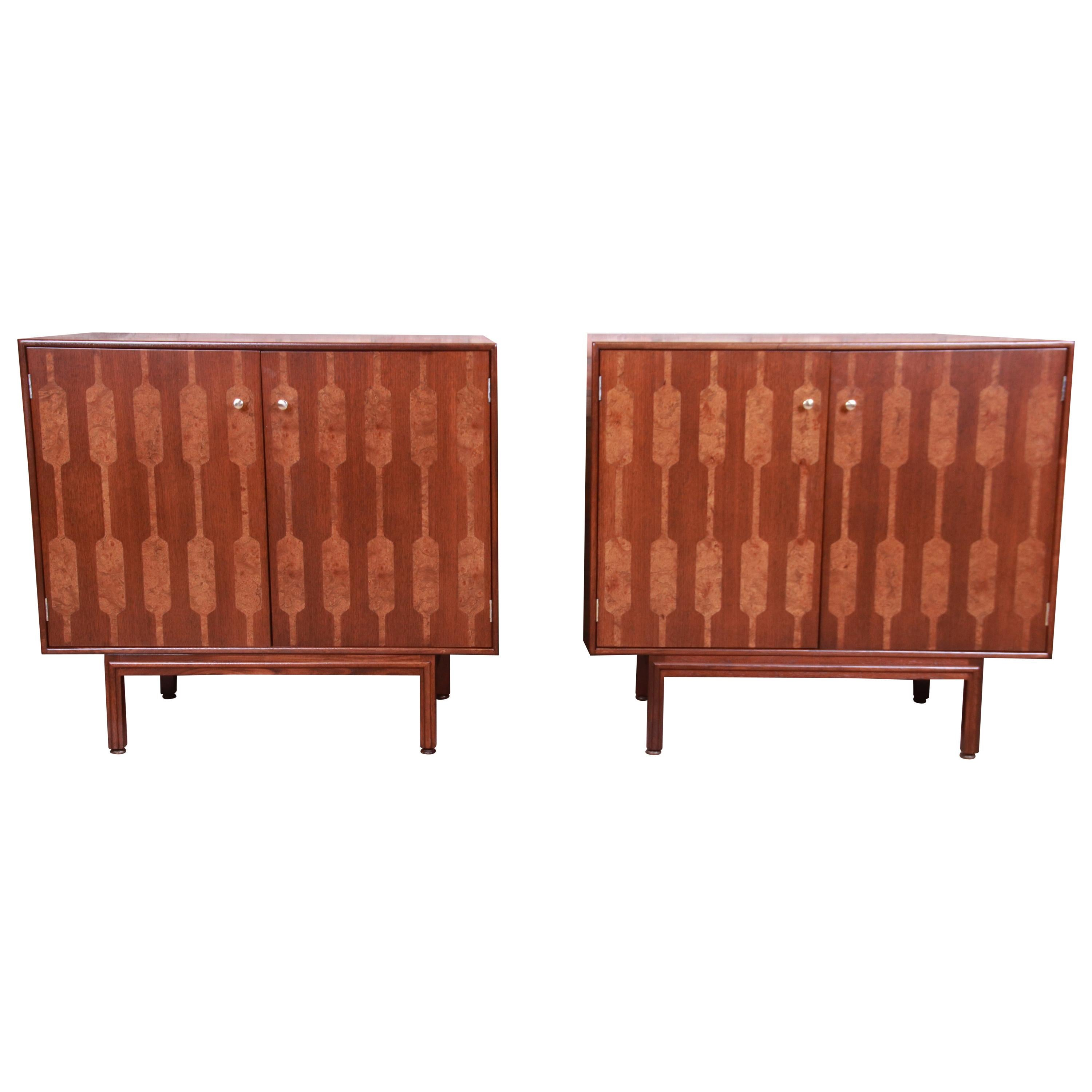 Romweber Mid-Century Modern Walnut and Burl Bedside Chests, Newly Refinished