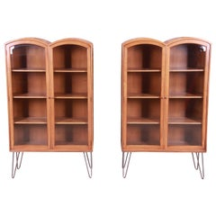 Romweber Mid-Century Modern Walnut Glass Front Bookcases on Hairpin Legs, Pair