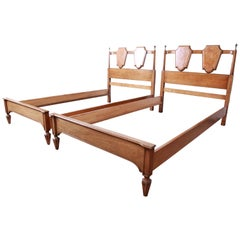 Romweber Midcentury Hollywood Regency Burl Wood and Brass Twin Beds, Pair