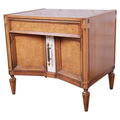 Romweber Midcentury Hollywood Regency Burl Wood Nightstand or End Table