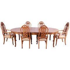 Romweber Ornate Burl Wood French Carved Extension Dining Table & Six Chairs