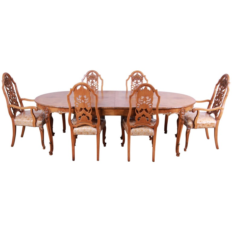 Romweber Ornate Burl Wood French Carved Extension Dining Table Six Chairs