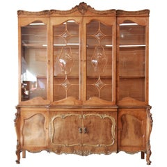 Romweber Ornate Burl Wood French Carved Sideboard with Hutch