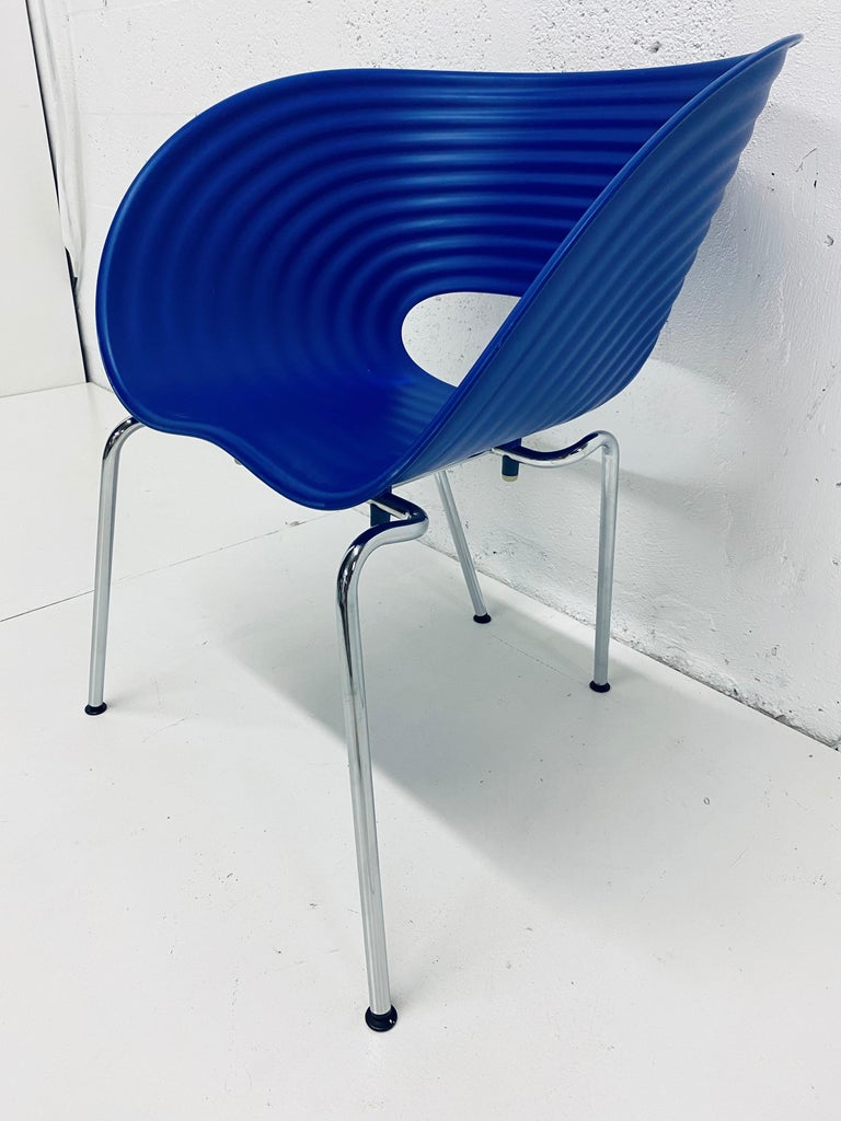 Cobalt blue Tom Vac plastic shell chair designed by Ron Arad and manufactured by Vitra, Germany 1999. This color has been discontinued and is no longer available from Vitra.  Tom Vac chair offers a high degree of comfort both indoors and out. The
