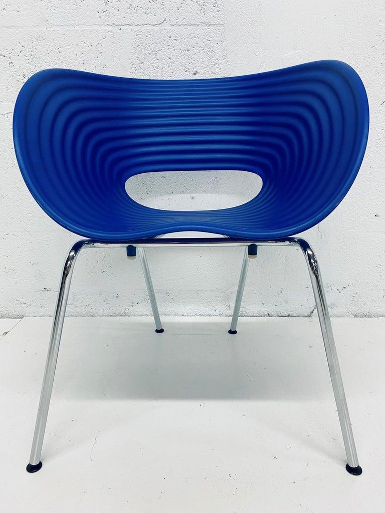German Ron Arad Cobalt Blue Tom Vac Plastic Shell Chair for Vitra For Sale