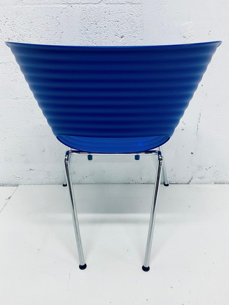 Ron Arad Cobalt Blue Tom Vac Plastic Shell Chair for Vitra For Sale 1