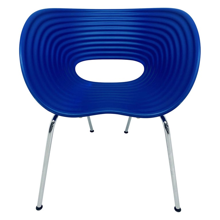 Ron Arad Cobalt Blue Tom Vac Plastic Shell Chair for Vitra For Sale