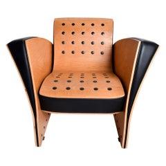 Ron Arad Fauteuil Rubber Crust Beech & Black Arm Chair Contemporary Modern 1980s