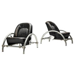 Ron Arad for One Off 'Rover' Lounge Chairs in Steel and Original Leather