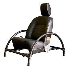 Ron Arad Rover Chair in Black Leather and Matte Black Frame with Headrest