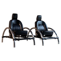 Ron Arad Rover Chairs Pair by One Off Ltd Circa 1981