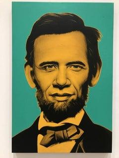 Abraham Obama (orange and green on canvas)