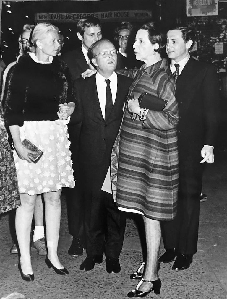 """Ron Galella Black and White Photograph - Premiere of """"Trilogy"""" at the Arts Theatre. C.Z. Guest, Truman Capote, And Diana"""