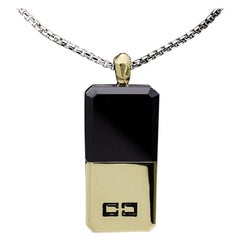 Ron Hami Silver and Gold Onyx Dog Tag Necklace