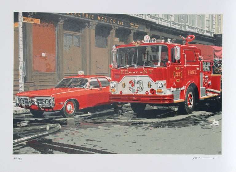 Artist: Ron Kleemann, American (1937 - )  Title:  Fire Engine (FDNY) Year: 1979 Medium: Serigraph on Somerset Paper, signed and numbered in pencil  Edition: 250 Paper Size: 22 x 30 inches (56 x 76 cm)