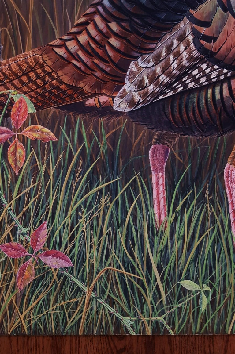 Eastern Wild Turkey - Black Animal Painting by Ron Louque