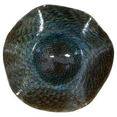 Ron Mynatt Fluted Freeform Art Glass Centerpiece Pedestal Bowl