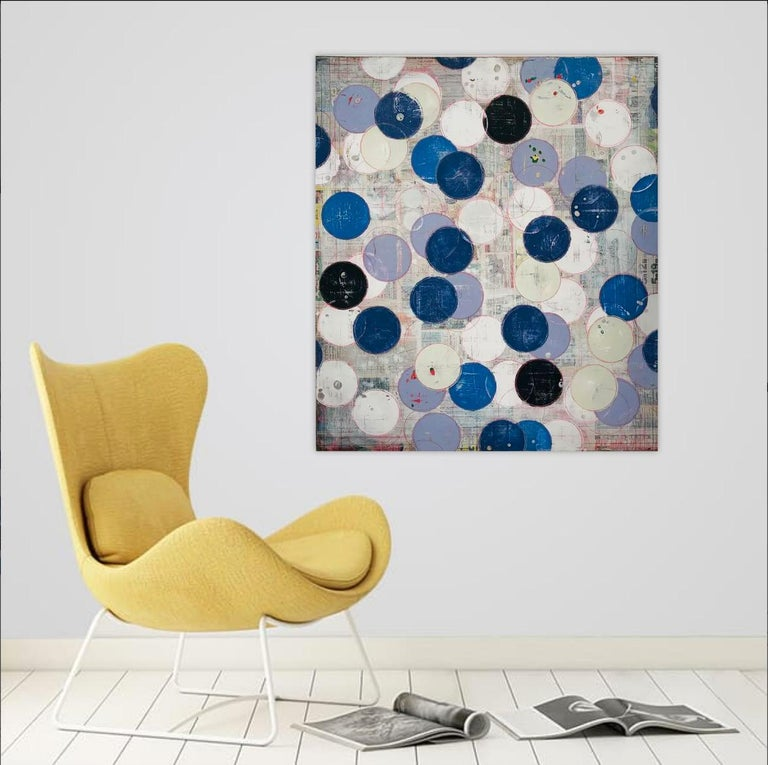 Intimacy by Ron Piller Abstract Mid-century feel Contemporary Striped Painting For Sale 3