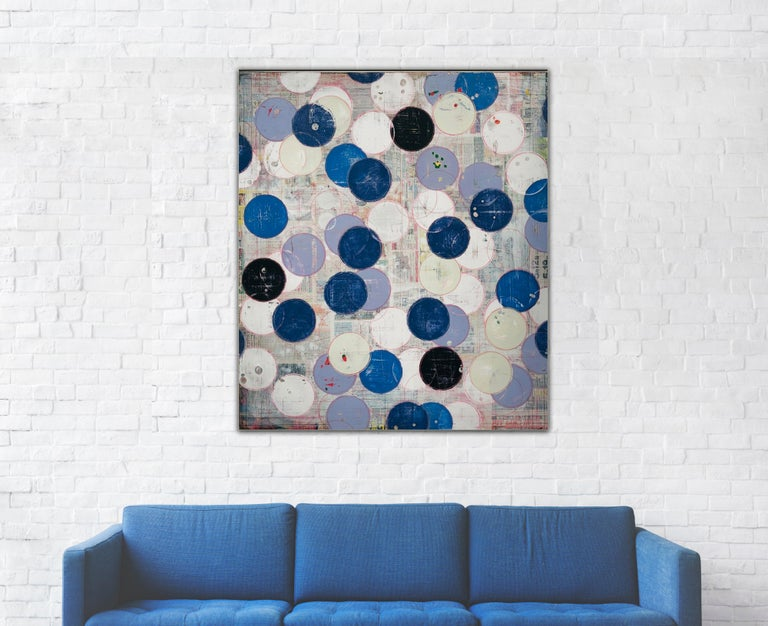 Intimacy by Ron Piller Abstract Mid-century feel Contemporary Striped Painting For Sale 5