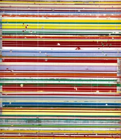 Stripes of Life by Ron Piller - Contemporary colorful Abstract painting on wood