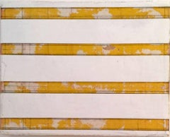 Why Birds Fly - white, yellow, grey, geometric, striped painting on wood