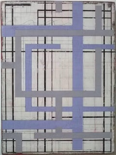 Without a conjuction - white, purple, grey, geometric painting on wood