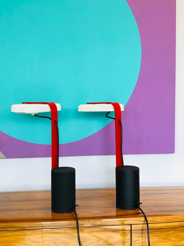 Enameled Ron Rezek Post Modern Red, Black and White Table Desk Pair of Lamps For Sale