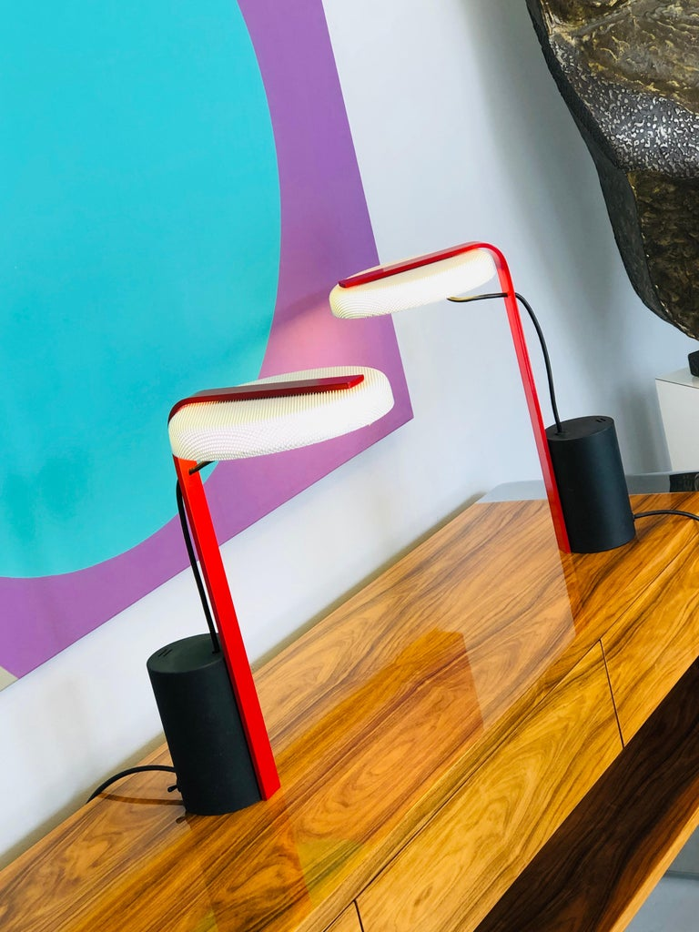 Late 20th Century Ron Rezek Post Modern Red, Black and White Table Desk Pair of Lamps For Sale