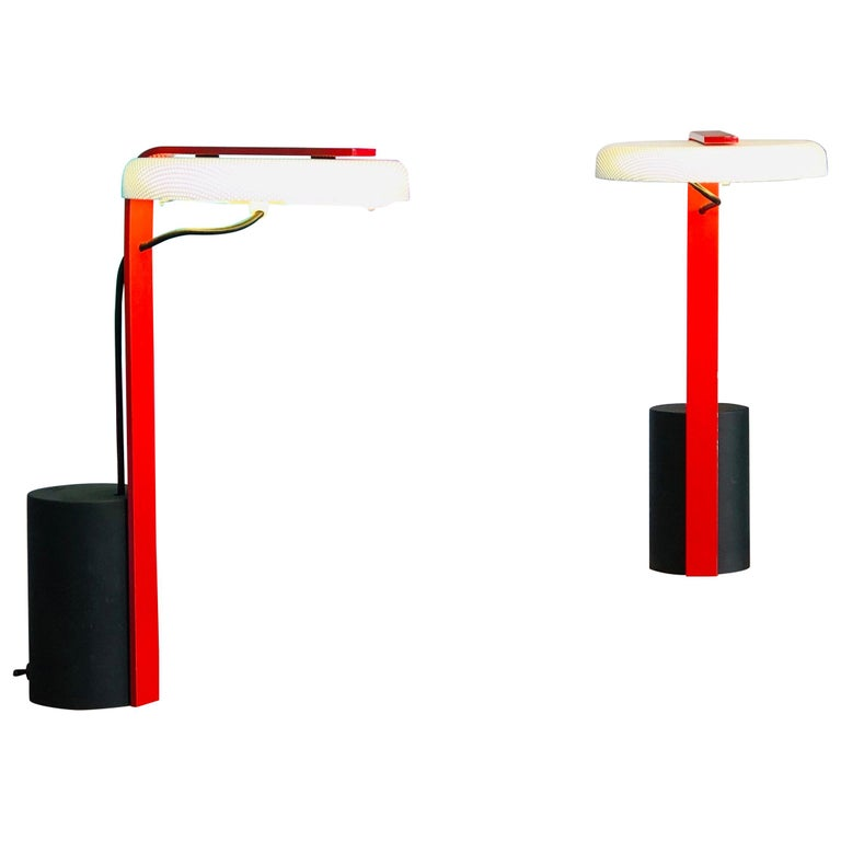 Ron Rezek Post Modern Red, Black and White Table Desk Pair of Lamps For Sale