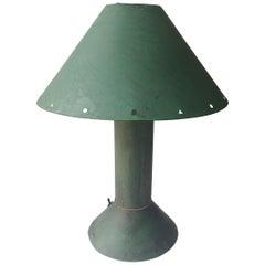 Ron Rezek Table Lamp in Metal with Verdigris/ Green Patina, Industrial Design