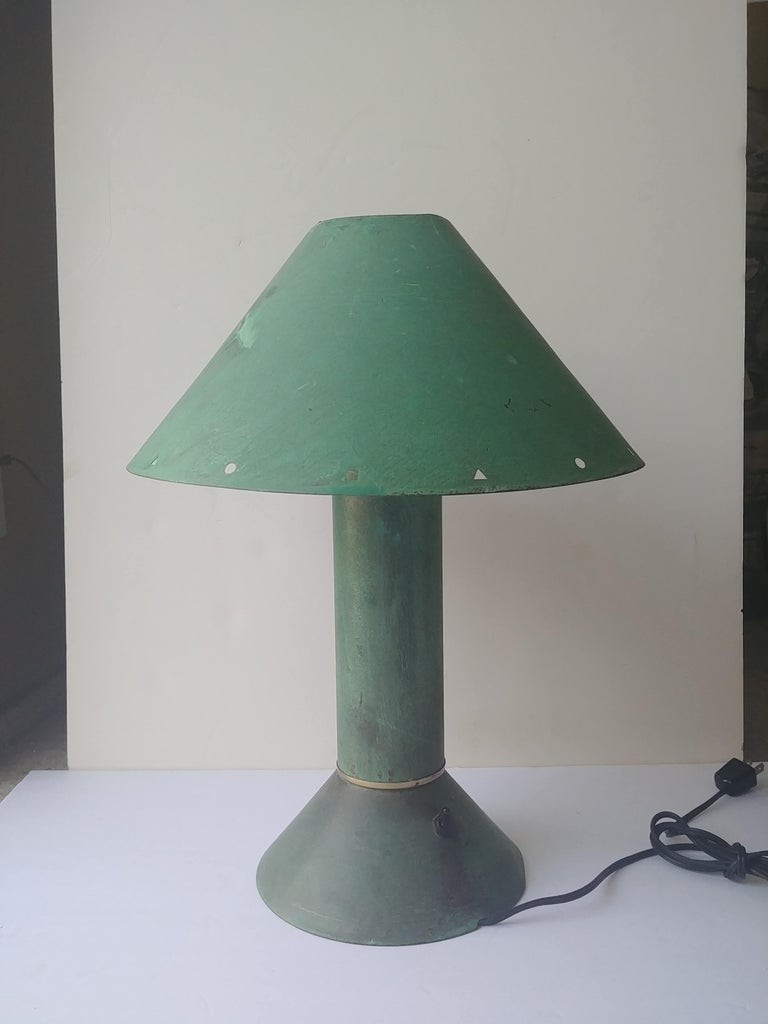 Great and nice 1980s industrial design with the very popular aqua /pastel colors of the time. All metal lamp in a verdigris patina. Has a white metal lining as shown.