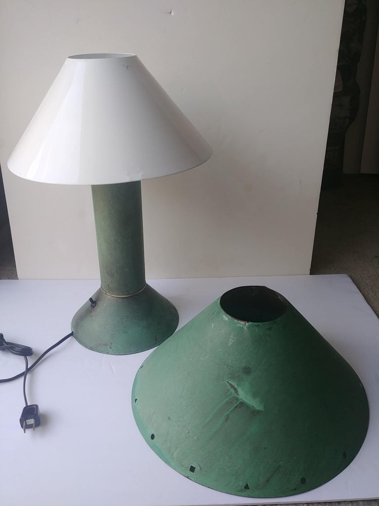 Ron Rezek Table Lamp in Metal with Verdigris/ Green Patina, Industrial Design In Excellent Condition In Los Angeles, CA