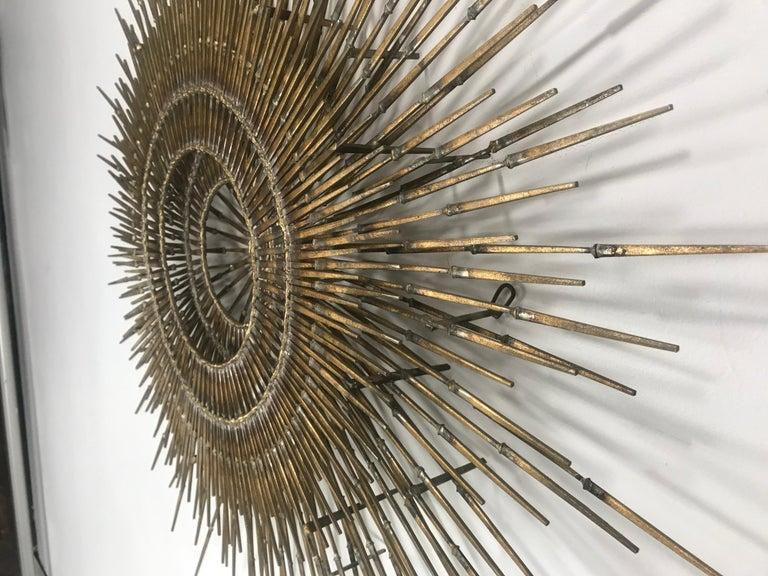 American Ron Schmidt Large Brutalist Sunburst with Starburst Nail Art Wall Sculpture For Sale