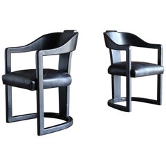 """Ron Seff """"Christie"""" Leather Clad Armchairs, circa 1980"""