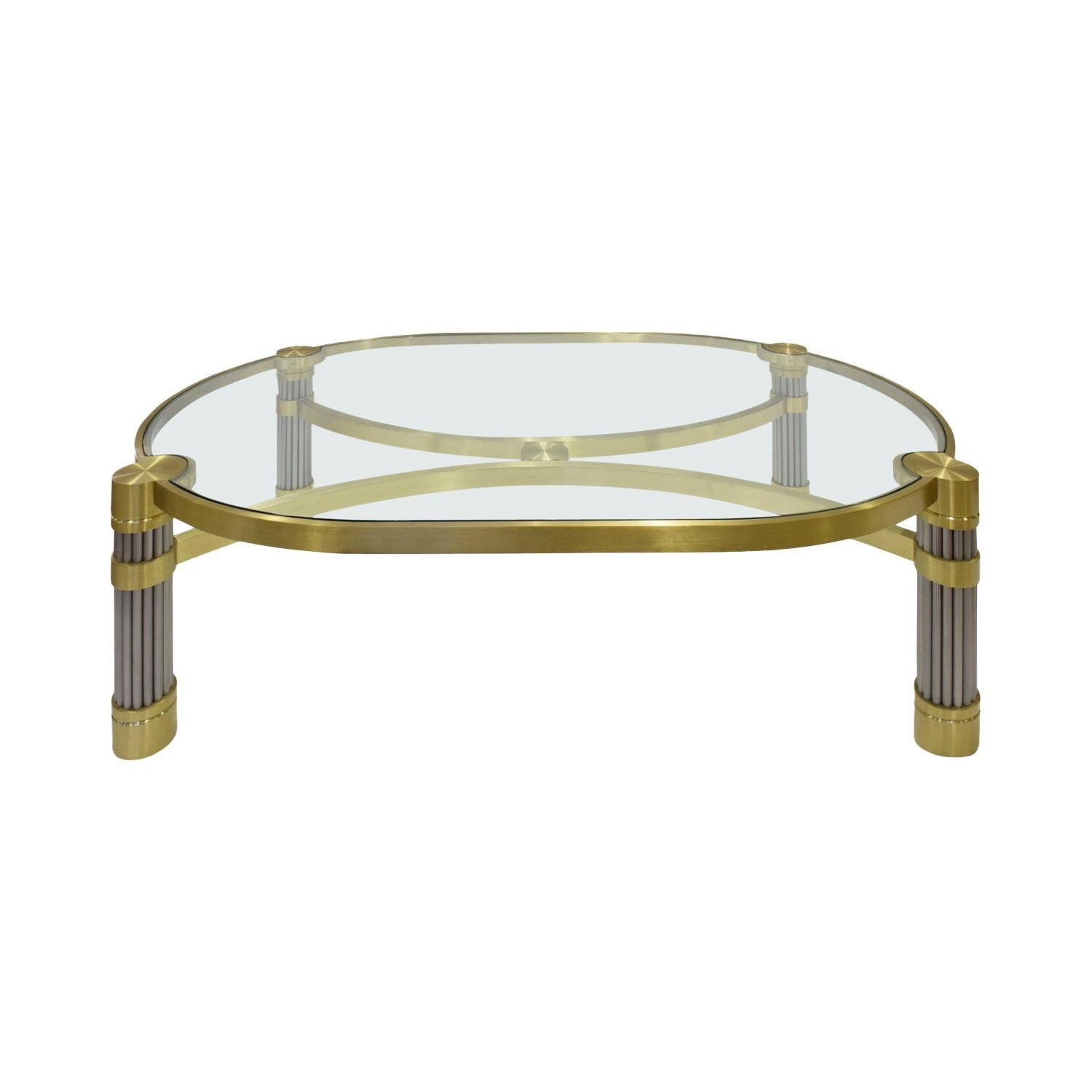 Ron Seff Large Coffee Table in Brushed Stainless Steel and Brass, 1980s