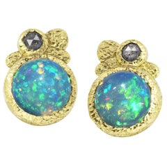Rona Fisher Fiery Deep Blue Ethiopian Opal Salt and Pepper Diamond Stud Earrings